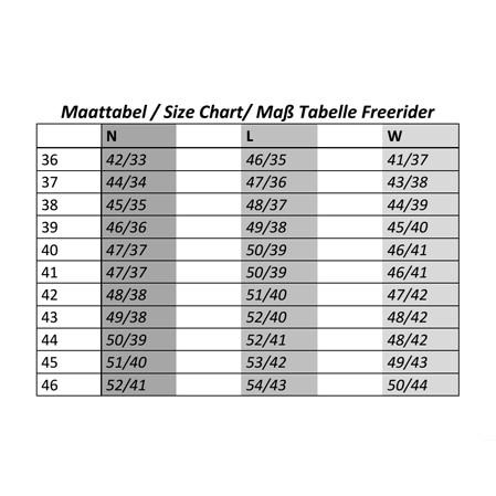 tabla medidas botas freerider