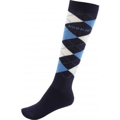 Calcetines rombos azul marino.
