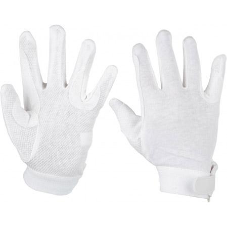 Guantes hípica algodón blancos.