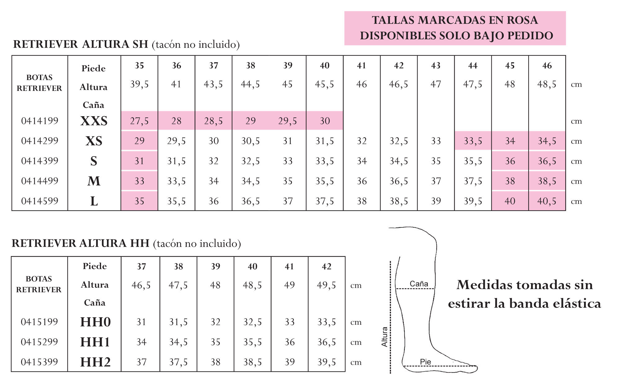 Tabla medidas botas retriever y Terranova.