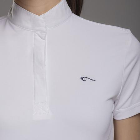 Polo amazona Zanahoria blanco logo.